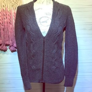 Loft Dark Gray Cardigan Zip Up Sweater M